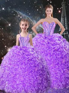 Adorable Lavender Lace Up Sweet 16 Dress Beading and Ruffles Sleeveless Floor Length