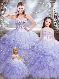 Trendy Sweetheart Sleeveless Lace Up Quinceanera Gown Lavender Organza