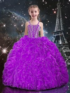 Eggplant Purple Lace Up Straps Beading and Ruffles Little Girl Pageant Gowns Organza Sleeveless