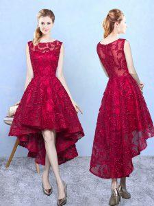 Exquisite Burgundy A-line Lace Scoop Sleeveless Lace High Low Zipper Vestidos de Damas