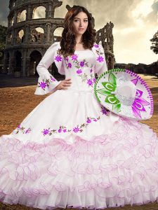 Custom Fit White Long Sleeves Organza Lace Up 15th Birthday Dress for Military Ball and Sweet 16 and Quinceanera