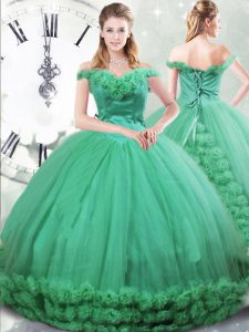 Eye-catching Lace Up Vestidos de Quinceanera Turquoise for Military Ball and Sweet 16 and Quinceanera with Hand Made Flower Brush Train