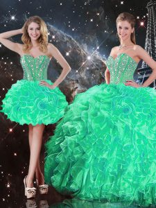 Ball Gowns 15 Quinceanera Dress Turquoise Sweetheart Organza Sleeveless Floor Length Lace Up