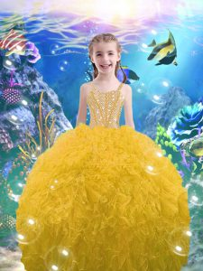 Organza Straps Sleeveless Lace Up Beading and Ruffles Little Girl Pageant Dress in Gold