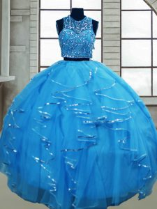 Dynamic Baby Blue Lace Up Quinceanera Dress Beading and Ruffles Sleeveless Floor Length