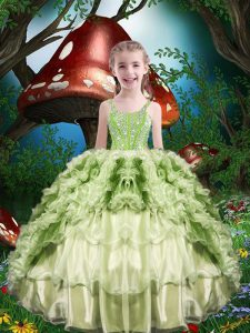 Yellow Green Straps Lace Up Beading and Ruffles and Ruffled Layers Little Girls Pageant Dress Wholesale Short Sleeves