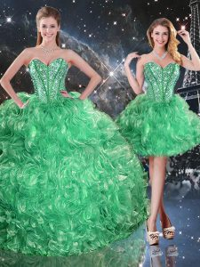 Stylish Sleeveless Organza Floor Length Lace Up Quince Ball Gowns in Green with Beading and Ruffles