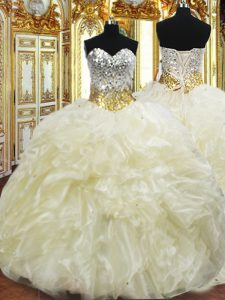 Ideal Light Yellow Sweetheart Neckline Beading and Ruffles Vestidos de Quinceanera Sleeveless Lace Up