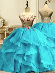 Inexpensive Aqua Blue Sleeveless Floor Length Appliques and Ruffles Lace Up Ball Gown Prom Dress