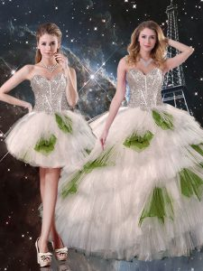 Glorious White Sleeveless Floor Length Beading and Ruffled Layers and Sequins Lace Up 15 Quinceanera Dress