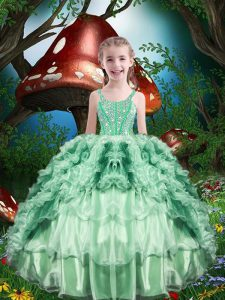 Apple Green Sleeveless Floor Length Beading and Ruffles and Ruffled Layers Lace Up Pageant Gowns For Girls