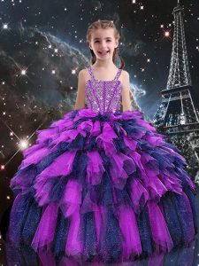 Excellent Eggplant Purple Lace Up Pageant Gowns For Girls Beading and Ruffles Sleeveless Floor Length