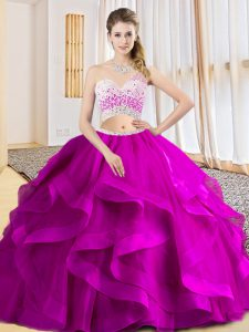 Fuchsia Sleeveless Beading and Ruffles Floor Length Sweet 16 Quinceanera Dress
