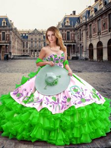 Smart Sweetheart Sleeveless Lace Up Sweet 16 Dresses Green Organza