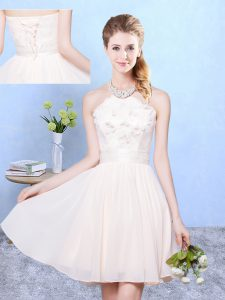 Best Selling Chiffon Sleeveless Knee Length Quinceanera Court Dresses and Lace