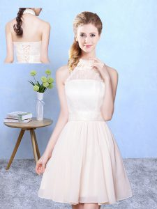 Trendy Champagne High-neck Lace Up Lace Quinceanera Court of Honor Dress Sleeveless