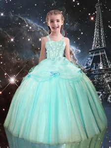 Hot Sale Aqua Blue Tulle Lace Up Pageant Gowns For Girls Sleeveless Floor Length Beading
