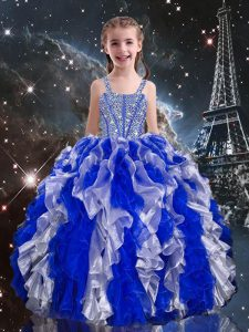 Blue Ball Gowns Beading and Ruffles Little Girl Pageant Gowns Lace Up Organza Sleeveless Floor Length