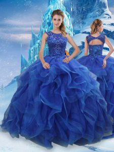 Blue Scoop Lace Up Beading and Ruffles Quinceanera Gowns Sleeveless