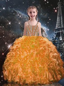 Ball Gowns Little Girls Pageant Gowns Orange Red Straps Organza Sleeveless Floor Length Lace Up