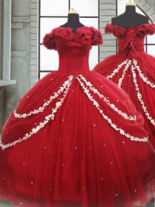 Wine Red 15 Quinceanera Dress Tulle Brush Train Sleeveless Appliques and Pick Ups
