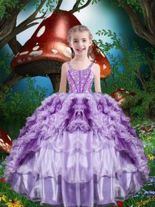 New Style Lavender Little Girls Pageant Dress Wholesale Quinceanera and Wedding Party with Beading and Ruffles and Ruffled Layers Straps Sleeveless Lace Up