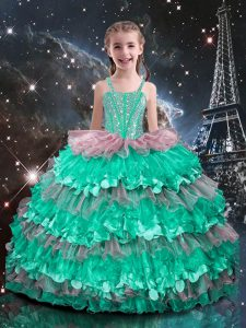 Beauteous Organza Straps Sleeveless Lace Up Beading and Ruffled Layers Little Girl Pageant Dress in Turquoise