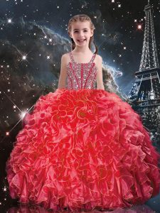 Coral Red Organza Lace Up Straps Sleeveless Floor Length Little Girls Pageant Dress Beading and Ruffles