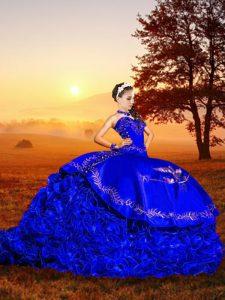 Designer Royal Blue 15th Birthday Dress Sweetheart Sleeveless Brush Train Lace Up