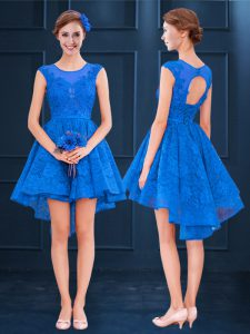 High Low A-line Sleeveless Blue Court Dresses for Sweet 16 Clasp Handle