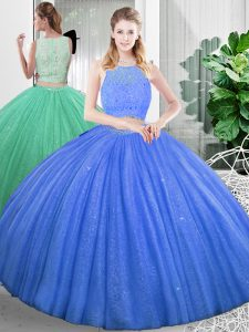 Simple Baby Blue Organza Zipper Quince Ball Gowns Sleeveless Floor Length Lace and Ruching