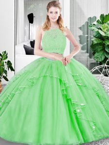 Spectacular Tulle Sleeveless Floor Length Sweet 16 Dress and Lace and Ruffled Layers