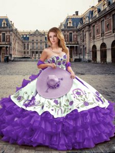 Admirable Floor Length Lavender 15 Quinceanera Dress Sweetheart Sleeveless Lace Up