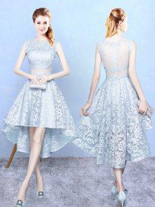 Beauteous Scoop Sleeveless Zipper Quinceanera Court of Honor Dress Light Blue Lace