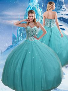 On Sale Sweetheart Sleeveless Ball Gown Prom Dress Floor Length Beading and Sequins Aqua Blue Tulle