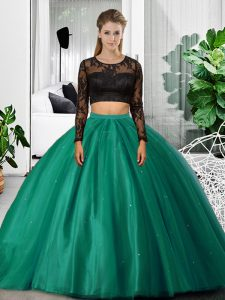 Ideal Long Sleeves Floor Length Lace and Ruching Backless Quince Ball Gowns with Dark Green