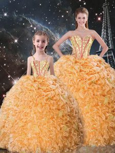 Fabulous Orange Lace Up Sweet 16 Quinceanera Dress Beading and Ruffles Sleeveless Floor Length