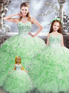 Sweetheart Sleeveless Quinceanera Dress Floor Length Beading and Ruffles Apple Green Organza