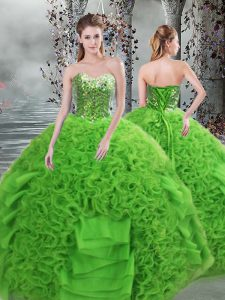 Exceptional Green Sleeveless Beading and Ruffles Floor Length Quinceanera Gown