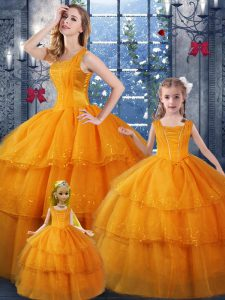 Floor Length Orange Ball Gown Prom Dress Organza Sleeveless Ruffled Layers