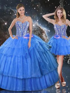 Luxurious Floor Length Ball Gowns Sleeveless Baby Blue Quinceanera Dress Lace Up