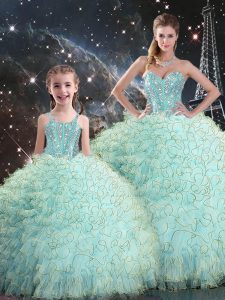 Floor Length Ball Gowns Sleeveless Light Blue Quinceanera Dresses Lace Up