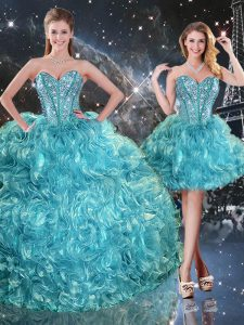 Vintage Three Pieces Quinceanera Dress Aqua Blue Sweetheart Organza Sleeveless Floor Length Lace Up