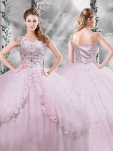 Lilac V-neck Neckline Beading and Appliques Quinceanera Dresses Cap Sleeves Side Zipper