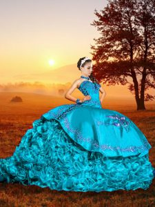 Customized Baby Blue Lace Up Sweetheart Embroidery and Ruffles Ball Gown Prom Dress Organza Sleeveless Brush Train