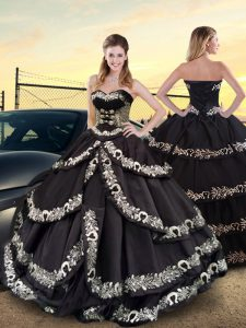 Floor Length Black Sweet 16 Quinceanera Dress Sweetheart Sleeveless Lace Up