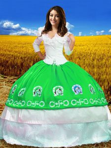 Ball Gowns Quinceanera Gowns Green Off The Shoulder Taffeta 3 4 Length Sleeve Floor Length Lace Up