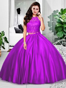Flare Floor Length Eggplant Purple Quinceanera Dress Taffeta Sleeveless Lace and Ruching