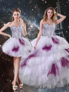 Sleeveless Zipper Floor Length Beading and Ruffled Layers and Sequins Sweet 16 Dresses