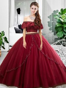 New Arrival Off The Shoulder Sleeveless Tulle Sweet 16 Dress Lace and Ruffles Lace Up